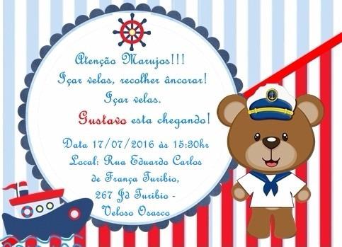 40 Convites Tema Marinheiro Chá De Bebê Ou Fraldas R 2100 Em