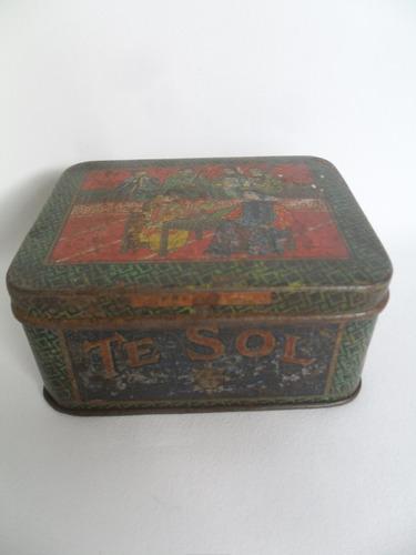 chá te sol lata vazia lata antiga decorativa para coleção