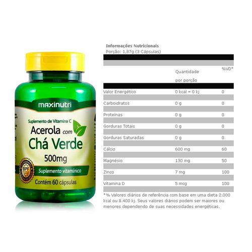 cha verde c/ acerola 60 caps - maxinutri produto novidade
