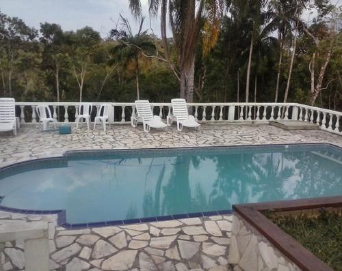 chácara com riacho, piscina, casa sede com 4 quartos
