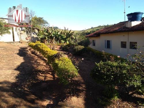 chácara rica em água com lago, pomar, 03 dormitórios, ótimo bairro à venda, 4800 m² por r$ 300.000 - rural - socorro/sp - ch0466