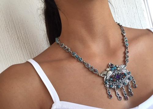 chácharas collar dominga con piedras naturales en plata .925