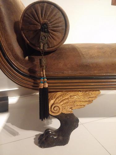 chaise lounge o sofa frances antiguo tallado en cedro 1890