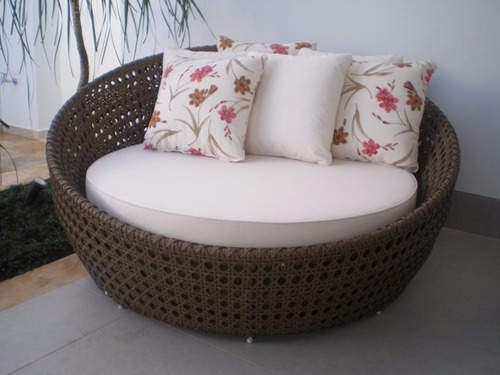 chaise sofá redondo de 1,50cm em fibra sintetica