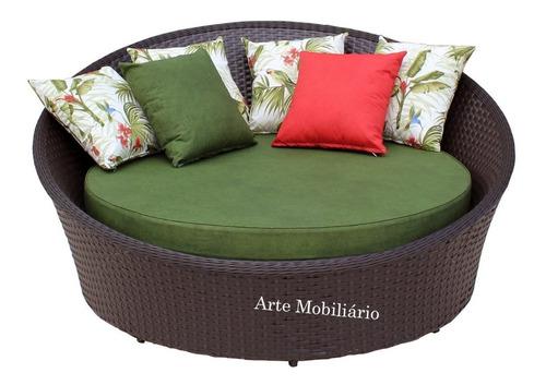 chaise,concha 1,40cm,fibra sintética,alumínio - garden.