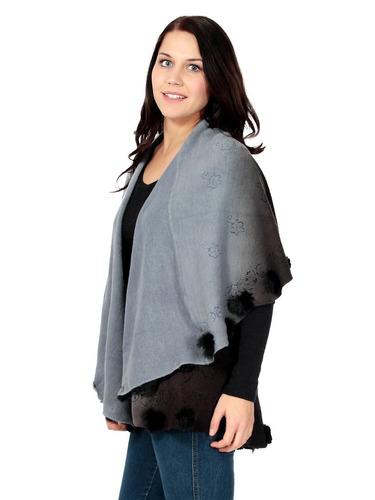 chal capa poncho cashemere con conejo 100%  elegante ropa