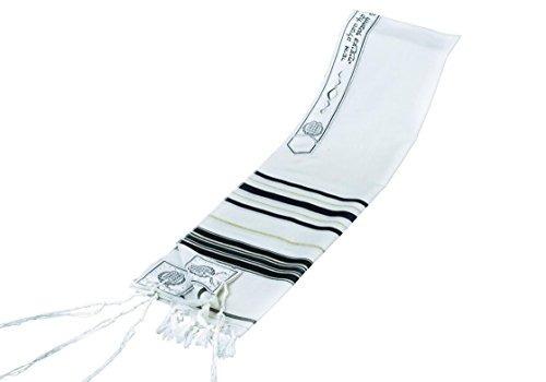 chal de oracion tallit kosher 100% lana y negro 24x 72 impor