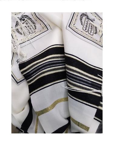 chal de oración tallit kosher 100% lana y negro hecho por