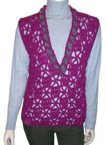 dc5eec26f Chaleco Artesanal Tejido A Mano Crochet Lana Mujer Escote V