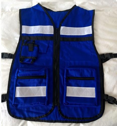 chaleco brigadista reflejante, pack 12 pzas, protección vial