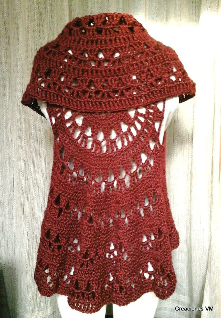 chaleco calado circular tejido a crochet. lana sedificada. Cargando zoom. c0a556abb645