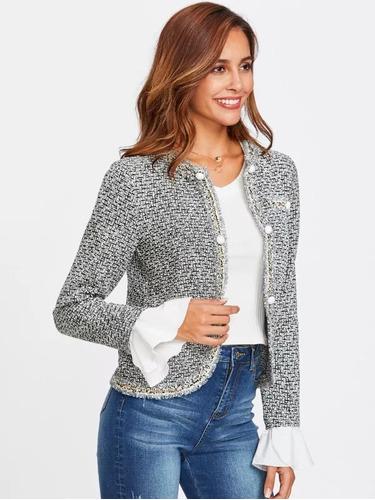 chaleco chaqueta blazer gris elegante casual mangas blancas