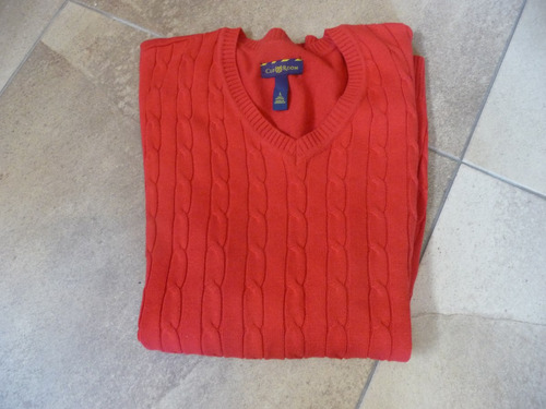chaleco club room roja cuello en v talla  l  large nuevo