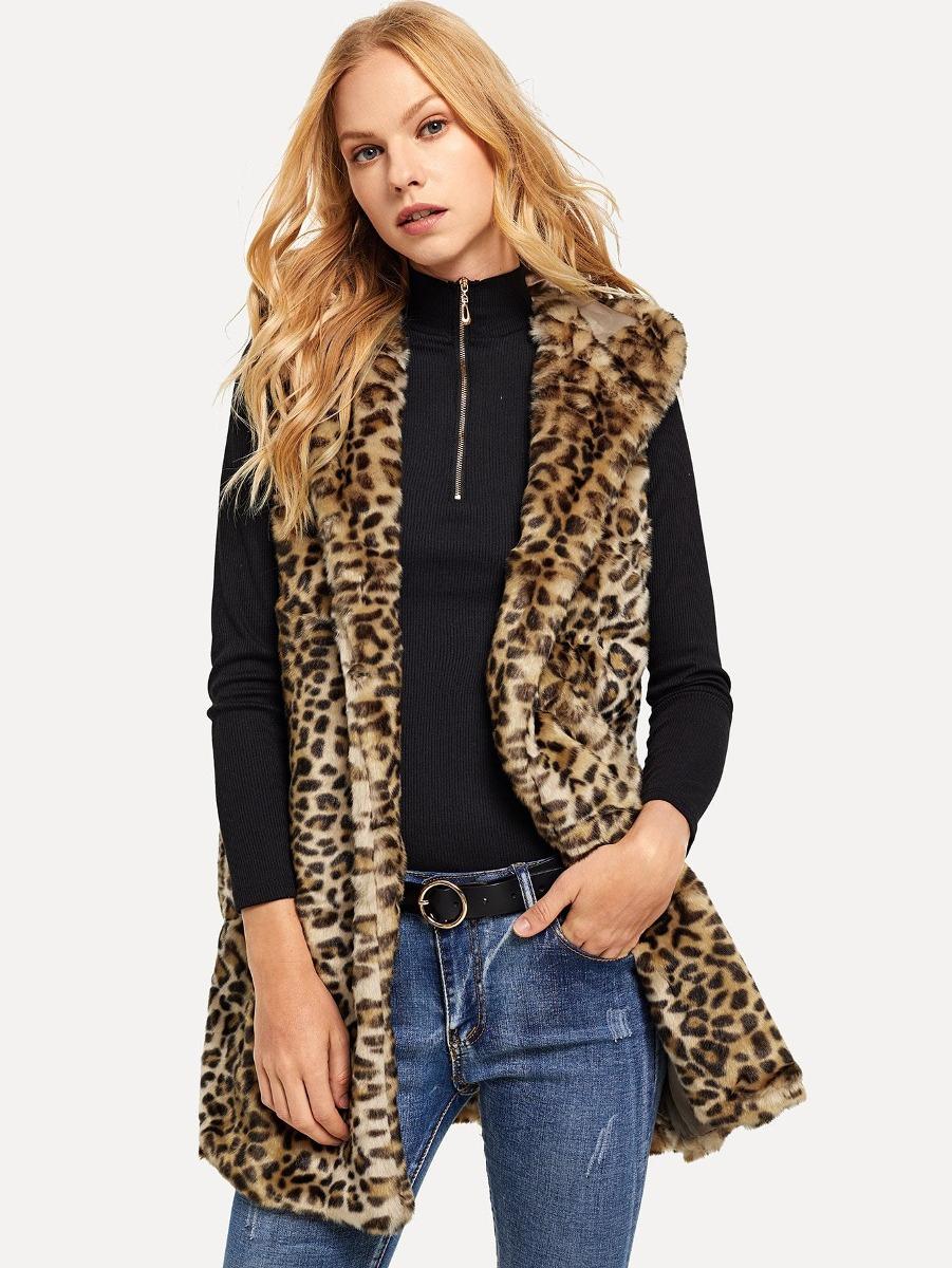 chaleco con pelo sintético leopardo con capucha. Cargando zoom. c107862d779a