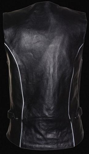 chaleco d/cuero milwaukee p/mujer c/diseño tribal negro xl