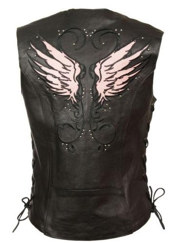 chaleco de cuero milwaukee p/mujer, c/tachas y alas rosa 3xl