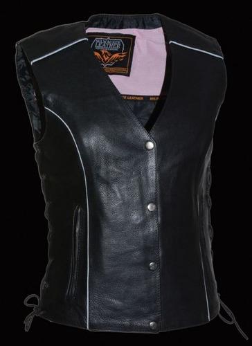 chaleco de cuero milwaukee p/mujer, c/tachas y alas, rosa xl