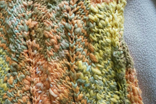 chaleco de lana,  tejido a palillo,  s/m.  lana gruesa