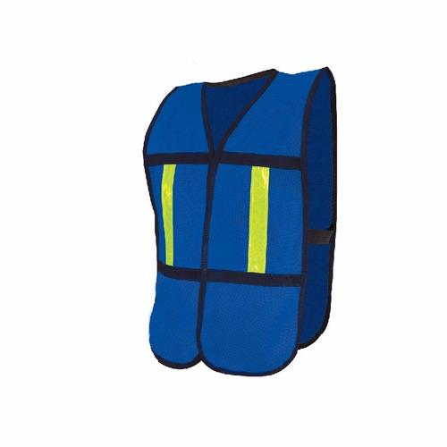 chaleco de malla azul con reflejante paquete con 12