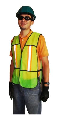 chaleco de malla vialidad con reflejantes amarillo seguridad
