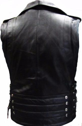 chaleco de piel para motociclista. mod. rockero.