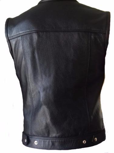 chaleco de piel para motociclista sons of anarchy soa cierre