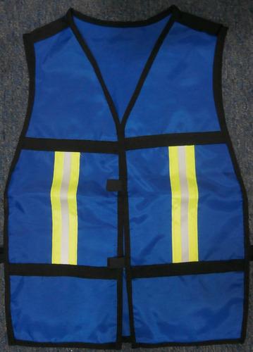 chaleco de seguridad azul rey con reflejante amarillo