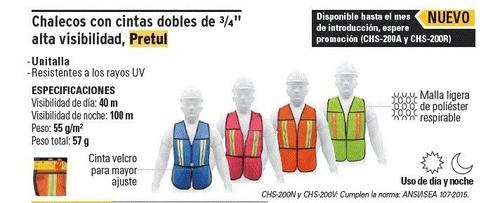 chaleco de seguridad con cintas reflejante pretul 21025