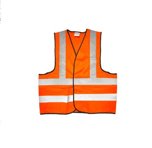 chaleco de seguridad con cintas reflejantes plateadas