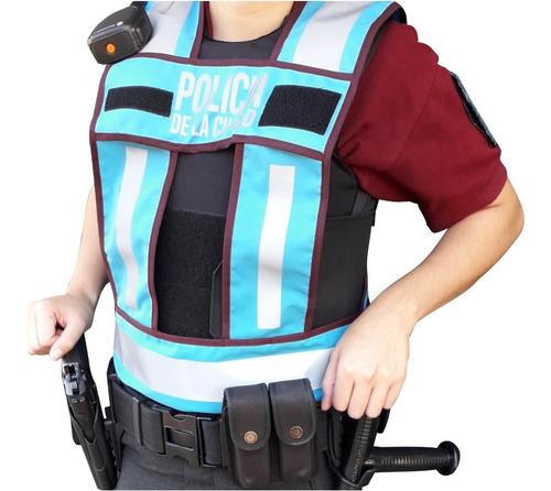 chaleco en h policia de la ciudad reflactario