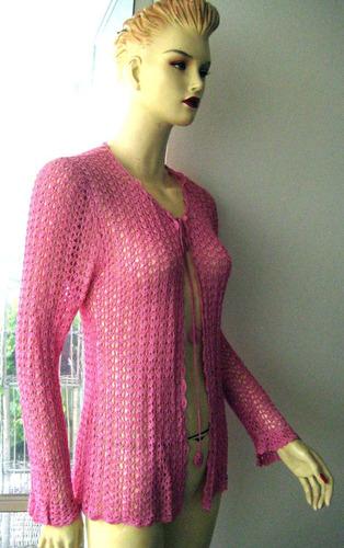 chaleco hilo, hermoso color rosado fuerte, talla unica