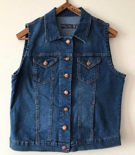 chaleco jean con bordado talles especiales s al xxl elastiza