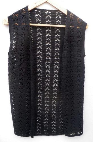 chaleco lana largo tejido al crochet, excelente terminación!