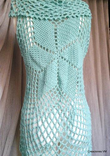 chaleco largo circular tejido a crochet. creaciones vm