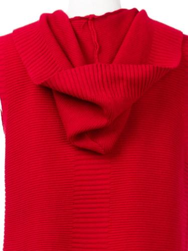 chaleco largo tejido de punto, corto, cuello redondo.