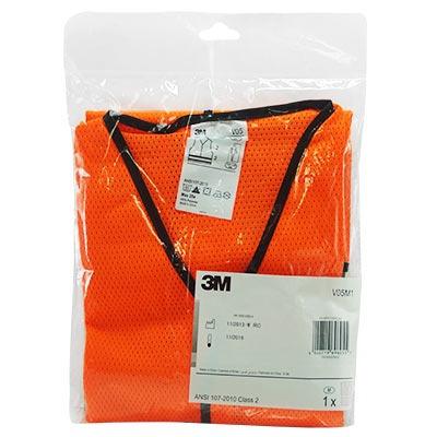 chaleco malla con 1 cinta reflejante naranja 3m