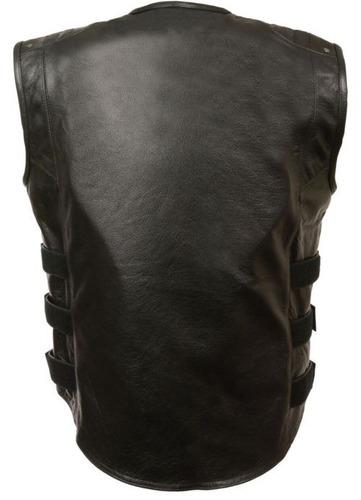 chaleco milwaukee de cuero negro p/motociclista hombre 2xl