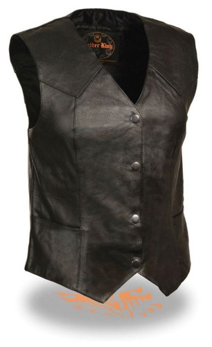 chaleco milwaukee p/mujer clásico 4 broches negro cuero 2xl