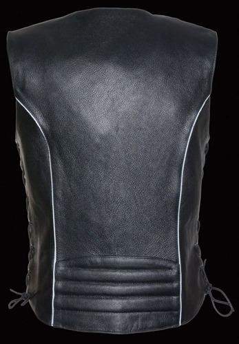 chaleco milwaukee p/mujer de cuero cordón lateral negro 2xl