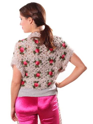 chaleco monalisa de lana tejido al crochet mujer crudo gris