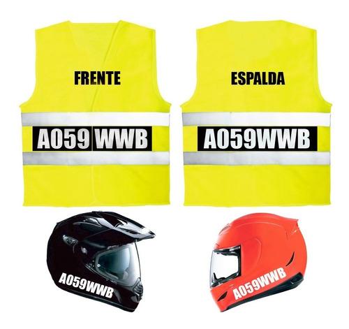 chaleco moto patente reflectivo bifaz + 4 calcos para casco