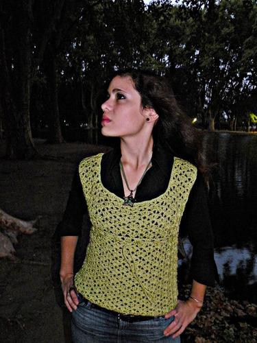 chaleco - musculosa tejido a crochet