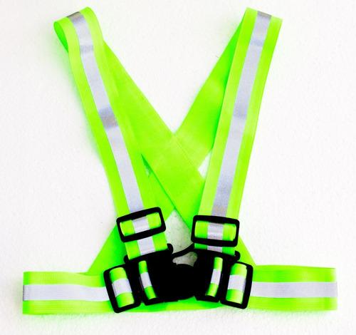 chaleco reflectante verde  niños ciclistas, runners, motos