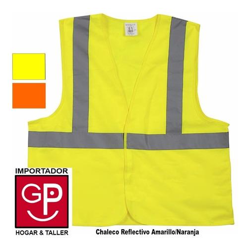 chaleco reflectivo amarillo o naranja x 3 unidades g p