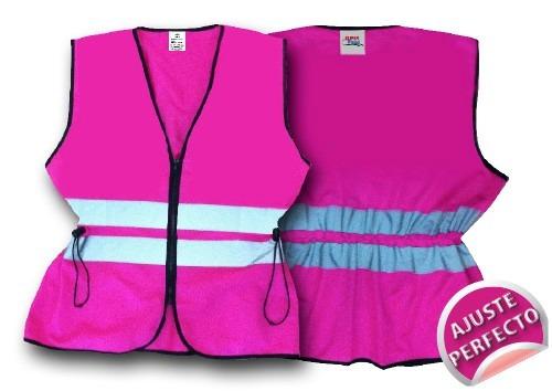 chaleco seguridad brigadier rosa ajustable dama epp mexico