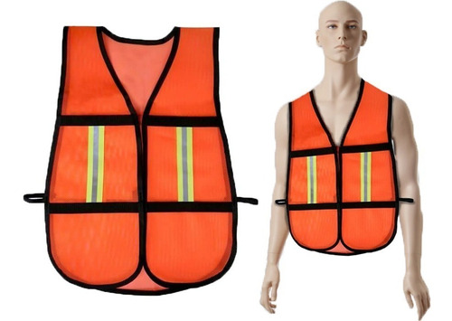 chaleco seguridad reflejante naranja textil jyrsa 1010cr