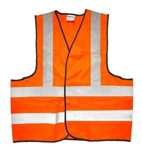 chaleco seguridad tela naranja con cintas reflejantes surtek