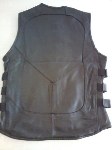 chaleco spartaco piel gruesa para motociclista con ajustes