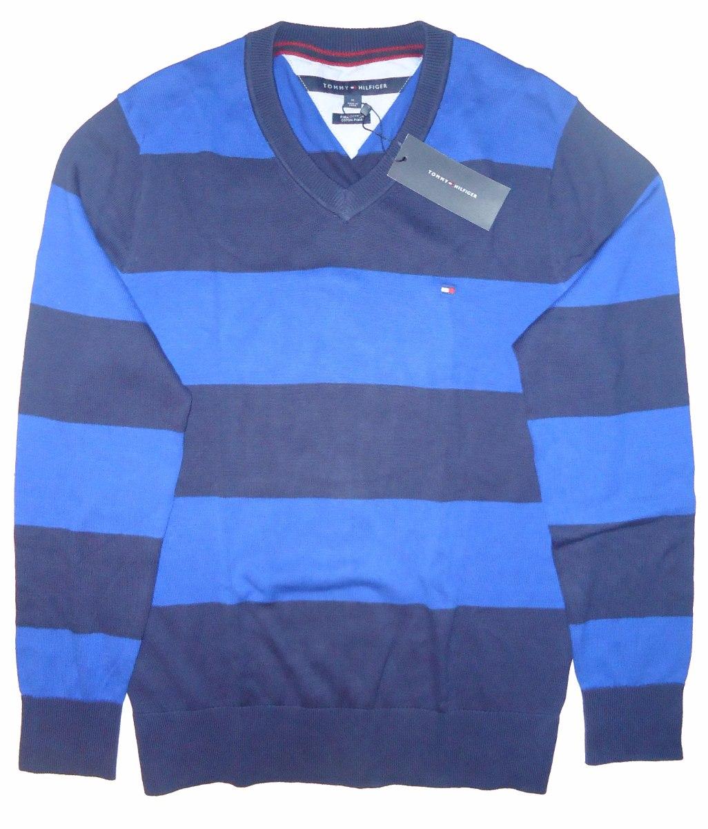 Chaleco / Sweater Rayas Azul , Tommy Hilfiger , Talla M