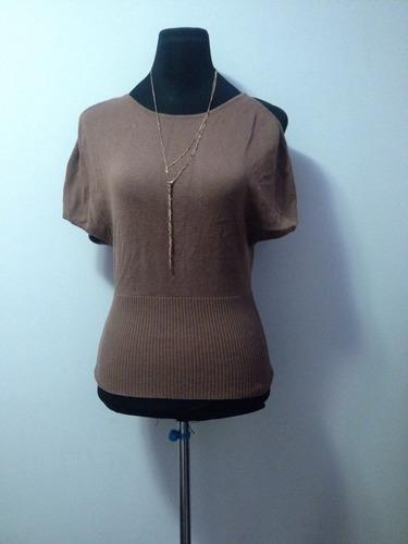 chaleco sweaters sin espalda, tipo blusa color cafe